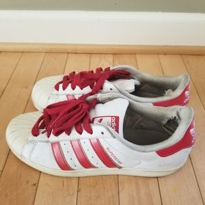 Red Adidas superstars size 8.5 used condition